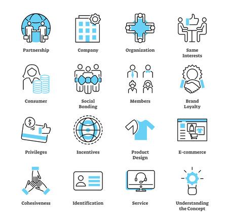 Ensemble de collection d'icônes de marketing d'affinité. Marché et commerce électronique ou illustration vectorielle de stratégie publicitaire. Symboles de partenariat d'entreprise, de membres, de liens et d'incitations.
