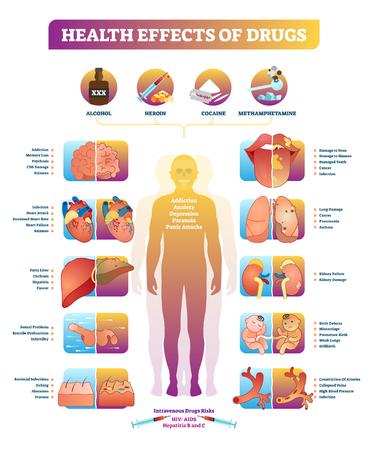 Effetti sulla salute del diagramma di illustrazione vettoriale di droghe illegali. Malattia con alcol, eroina, cocaina e metanfetamina. Elenco di cancro, danni e dipendenza da stupefacenti.