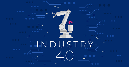 Industry 4.0 concept vector illustration.Modern industrial revolution - automation and data exchange in manufacturing technologies.Cyber systems,internet of things (IOT), cloud computing and AI