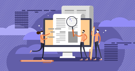 Press release copywriting flat concept vector illustration, group of people making research and composing marketing text for publication. Company or product announcement online or in other media.