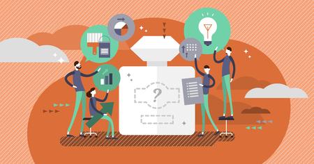 Illustration vectorielle de processus de marque. Les gens créent l'image et le style de l'entreprise. Développer un nom, un logo et des couleurs uniques pour que le produit se développe sur le marché. Les bases du marketing.