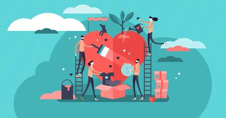 Freiwilligendienst-Vektor-Illustration. Stilisiertes und abstraktes Team hilft Nächstenliebe und teilt Hoffnung. Fürsorge, Liebe und gute Herzensgemeinschaft unterstützen arme, obdachlose und ältere Menschen.