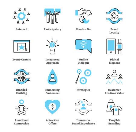 Conjunto de colección de iconos planos de marketing experiencial. Ilustración de vector con concepto de estrategia típica. Símbolo de interacción, lealtad a la marca, conexión emocional y otros.