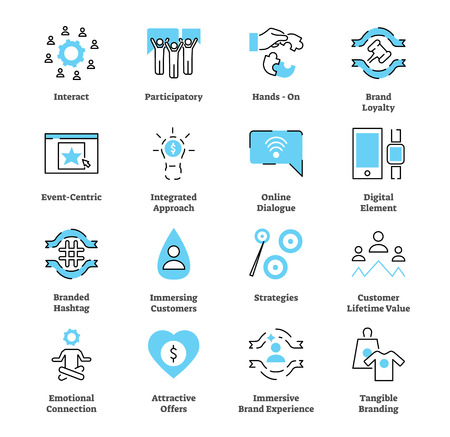 Ensemble de collection d'icônes plates de marketing expérientiel. Illustration vectorielle avec concept de stratégie typique. Symbole d'interaction, de fidélité à la marque, de connexion émotionnelle et autres.
