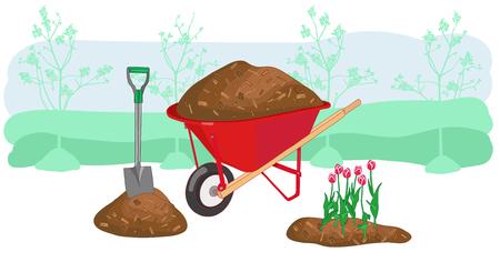 Illustrazione vettoriale di pacciamatura concetto di giardinaggio con carriola, pala e tulipani. Attrezzatura da lavoro stagionale all'aperto di campagna di agricoltura.