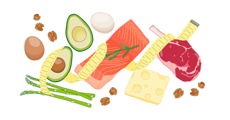 Atkins low carb diet concept illustration with meat, fatty fish, eggs, vegetables, cheese and nuts. Vector drawing with dietary foods for weight loss and good health. Fighting obesity problems. Çizim
