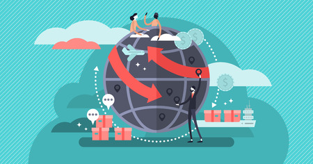 Globalisation flat vector illustration, people around the globe connection concept. Commercial cargo transportation and international business network relationships. World wide web internet technology Ilustrace