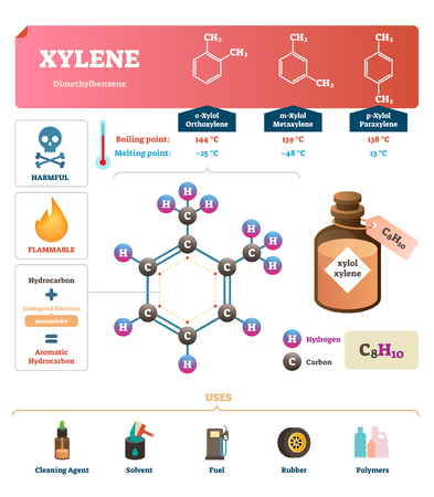 Xylene vector illustration. Labeled synthetic substance structure and uses. Scheme of liquid boiling and melting point and diagram with common uses. Infographic with all molecules chemical formula. Illustration