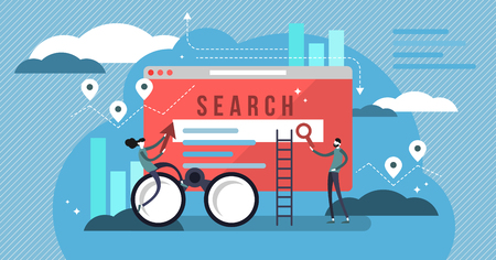 Search results vector illustration. Banner with engine answers to question. Online business and technology to display pages in response to query by searcher. Stylized team to advertise or SEO work. Ilustrace