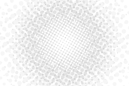 White halftone circles vector illustration. Gray abstract wallpaper. Reprographic technique that simulates continuous tone imagery through use of dots, varying in size or spacing generating a gradient
