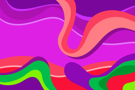 Abstract liquid colorful background flat vector illustration. Wavy motion. Saturated neon painting with dynamic composition colors. Artistic decoration wallpaper with bright paint and modern style.