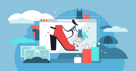 Fashion vector illustration. Shopping in store online to get trendy clothes. Industry that sell shoes and dresses. People pursuit for brand and designer fabric to be stylish and to feel beautiful.