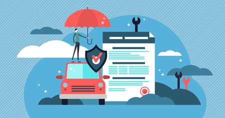 Car insurance vector illustration. Stylized motor with agreement and umbrella. Protection, warranty and shield symbol that guards vehicle from accident, damage or collision. People protection business