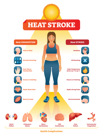 Heat stroke vector illustration. Exhaustion symptoms labeled medical list. Examples with dizzy head, vomiting, weak pulse, headache, unconsciousness and body temperature. Anatomical diagnosis diagram.