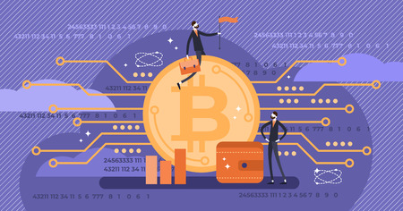 Bitcoin vector illustration. Flat mini persons with virtual money concept. Famous international cryptocurrency from mining network. Blockchain trade network symbol. Unstable and dangerous currency.