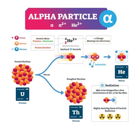 Alpha-Partikel-Vektor-Illustration. Beschriftete Infografik zum atomaren Ionenprozess. Strukturschema mit Elektron, Proton und Neutron. Konzept des Mutterkerns, des emittierten Teilchens und der Tochter.