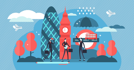 London vector illustration. Abstract flat famous England tourism symbols. Big Ben, gherkin, bus and rain as United Kingdom must see collection set. Most popular travel destinations and business life.