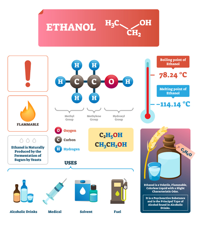 Ethanol vector illustration. Chemical eco alcohol substance characteristics. Natural and alternative renewable ethyl fuel for gas industry. Recreational drug beverage ingredient. Psychoactive liquid. Reklamní fotografie - 127156115