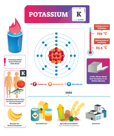 Potassium vector illustration. Chemical element substance characteristics uses. Boiling or melting temperature diagram. Alkali metals part and ionic salts ingredient. Educational labeled infographic