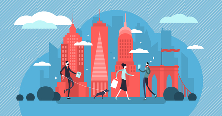 New York vector illustration. Manhattan metropolis for tourism culture tour. Flat landscape with downtown background silhouette. United states city with local people and famous skyline architecture.