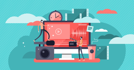 Video editor vector illustration. Flat mini persons concept with camera work and footage editing. Multimedia content production for online video blog channel. Meeting hot news publishing deadlines. Vektorové ilustrace