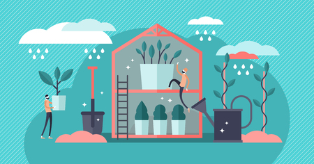 Plant nursery vector illustration. Flat mini professional gardening persons concept. Tree growing inside of greenhouse. Shovel and watering can equipment to take care of plants. Propagation business.