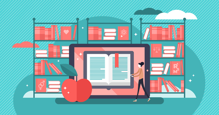 Online books flat vector illustration. Tiny persons web information concept. Technology using for knowledge study, school or university. Digital media global shop for distance literature reading.