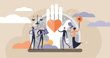 Human rights vector illustration. Flat tiny equal and variety persons concept. No racism, gender or sexual discrimination movement. Freedom, love and equality symbol. Protest for tolerance and respect Illustration