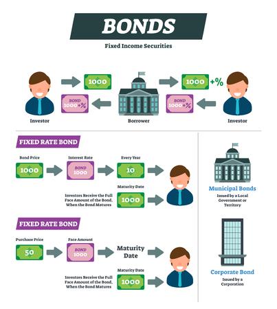 Anleihen-Vektor-Illustration. Erklärungsschema für Finanzinstrumente von Anlegern und Kreditnehmern. Beschriftetes Beispieldiagramm zum Festpreis. Infografik mit Kommunalverwaltung und Unternehmensertragspapieren.