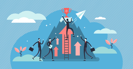 Competition vector illustration. Flat tiny business persons goals concept. Success symbol for professional leader direct achievement award. Cooperation and teamwork strategy effort accomplishment. 向量圖像