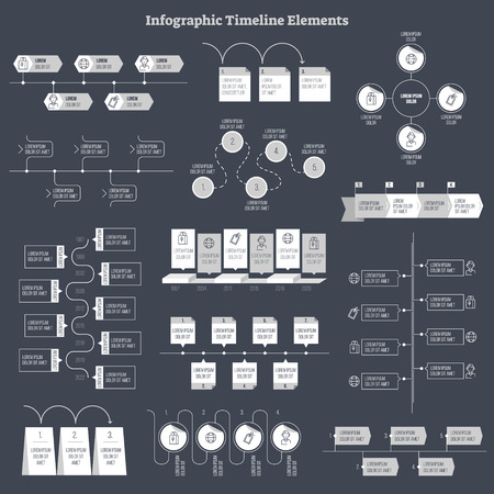 Infographic flat vector design elements collection. Business data information presentation. History timeline order structures and main step templates. Round and rectangular text field layouts.