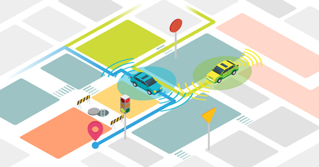 Self driving cars vector illustration. Example with self driving vehicles. Smart and intelligent autonomous transport to reach destination safe without driver and control. GPS auto navigation system.