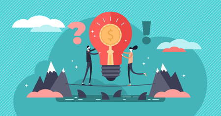 Venture capital vector illustration. Flat tiny investment persons concept. Risky business with huge profit potential. Startup and new idea funding. Innovation entrepreneur and project crowd funding. Vecteurs