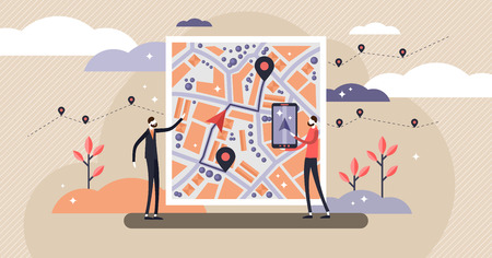 GPS navigation vector illustration. Flat tiny persons concept with map location. Satellite view city with marked direction from pin to destination. Technology maps and virtual wireless streets guide.