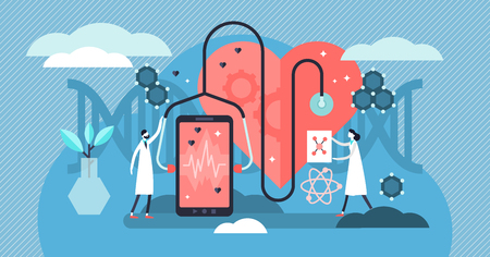 Biotechnology vector illustration. Tiny DNA biology science persons concept. Smart devices artificial intelligence health monitoring and diagnosis app. Medical technology health improvement analysis.