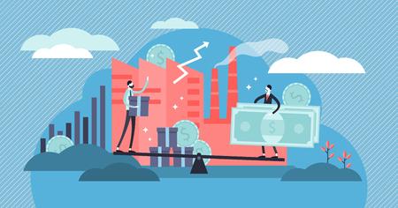 Illustration vectorielle de microéconomie. Concept de personnes d'affaires locales minuscules plates. Augmentez les statistiques de profit et la valeur positive du produit. Solde des prix des ressources de l'entreprise individuelle. Bases de l'étude de l'économie. Vecteurs