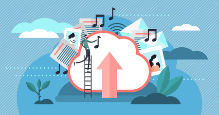 Cloud storage vector illustration. Flat tiny persons uploading files concept. Virtual HDD space for multimedia, documents and music. Global server database hosting and modern sharing service business.