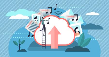 Illustration vectorielle de stockage en nuage. Concept de téléchargement de fichiers de personnes minuscules à plat. Espace disque dur virtuel pour le multimédia, les documents et la musique. Hébergement de bases de données de serveurs mondiaux et entreprise de services de partage moderne.