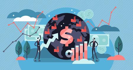 Ilustración de vector de macroeconomía. Concepto de personas de gráfico de finanzas diminuto plano. Gráfico de presupuesto monetario del PIB global. Tasa positiva de renta del capital social total. Estudio de dinero global y conocimientos básicos de economía.