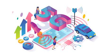 Isometrischer Cyberspace mit 5G-Geschwindigkeit und Konzeptvektorillustration für kleine Personen. Reibungsloser abstrakter Geschwindigkeitsvergleich und Nutzungserfassung von Internetgenerationen. VR, 4K-Videostream und 3D-Signalübertragung.