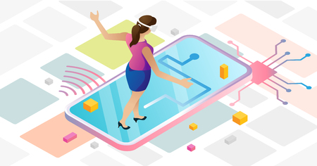 Augmented reality in abstract urban cyberspace with female using VR goggles and navigating route on the map. Mobile device with online app, modern technology concept, isometric vector illustration.