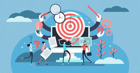 Project management vector illustration. Flat tiny teamwork person concept. Working plan strategy leadership for success development and progress. Finance, communication, investment analysis collection Vektorové ilustrace