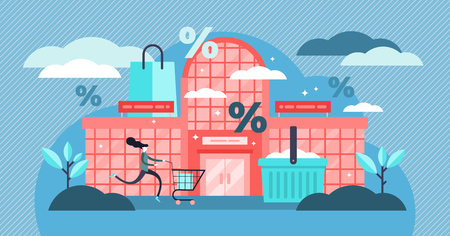 Shopping mall vector illustration. Flat tiny persons discount buy concept. Store exterior with sale percentage symbol. Retail market business and modern commerce building with purchase woman customer.
