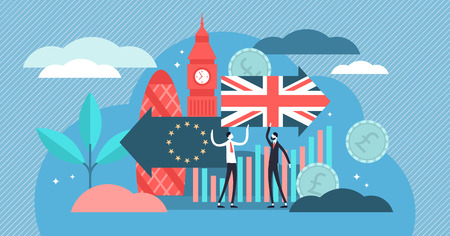 Brexit vector illustration. Flat tiny UK leaving EU referendum persons concept. Britain exit european union vote crisis symbol. Economical and political decision choice result. Euroscepticism reform. Illustration