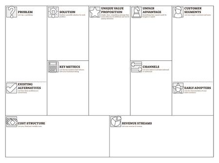 Ilustración de vector de lienzo magro. Tabla de plantilla en blanco de presentación de plan de negocios. Herramienta alternativa y eficaz para emprendedores. Método simple que ayuda a deconstruir la idea en sus supuestos clave.