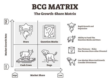 Illustration vectorielle de matrice BCG. Graphique de Boston des vaches à lait et des chiens. Lignes directrices du processus de stratégie de performance financière de l'entreprise pour contrôler le développement, gérer les ressources et analyser les performances.
