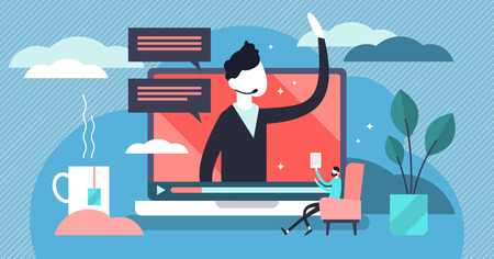 Webinar vector illustration. Flat tiny marketing video tool persons concept. Distance communication business management. Conference strategy to attract client. Questions and answers study or training.