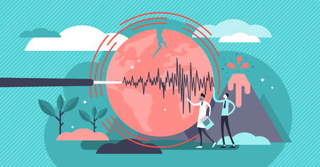 Geology vector illustration. Flat tiny volcano earthquake persons concept. Signal technology study to predict nature disasters. Scientists gathering instrument data. Seismic activity and lava eruption 일러스트