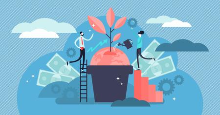 Ilustración de vector de responsabilidad social empresarial. Concepto de personas éticas y honestas diminutas planas. Estrategia corporativa simbólica para la gestión organizativa de derechos sostenibles y justos o el trabajo en equipo de RSE.