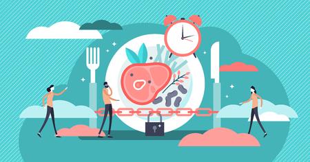 Vasten vectorillustratie. Platte kleine stofwisseling dieet tijd persoon concept. Moderne en gezonde methode voor gewichtsverlies en positief effect. Dagelijks maaltijdschema en plan om in ketogene toestand te blijven.